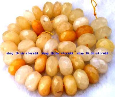 9x17mm natural yellow Jade rondelle faceted Beads 15''