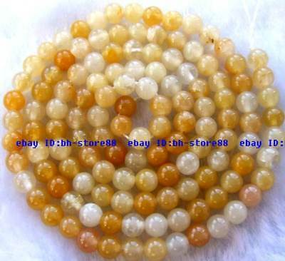 3mm natural yellow Jade Round Small Gemstone Beads 15''