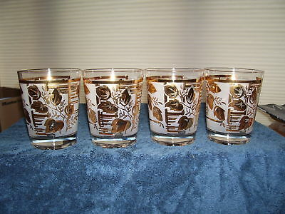 Four (4) Bar Glass * GOLD WHITE FROSTED LEAF * Vintage