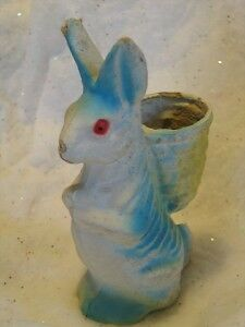 Vintage Paper Mache Easter Bunny Rabbit Candy Container T5