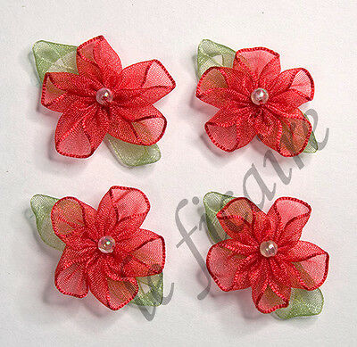 Organza Flowers Bead Appliques Dolls Clippies x 50 Red