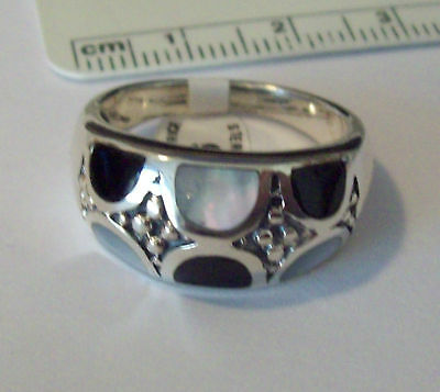 size 7 Sterling Silver 11mm wide top 7 gram inlay Onyx Mother of Pearl Ring