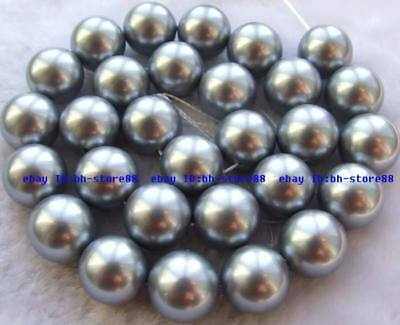 14mm gray&blue Pearl Shell Round gemstone Beads 15''