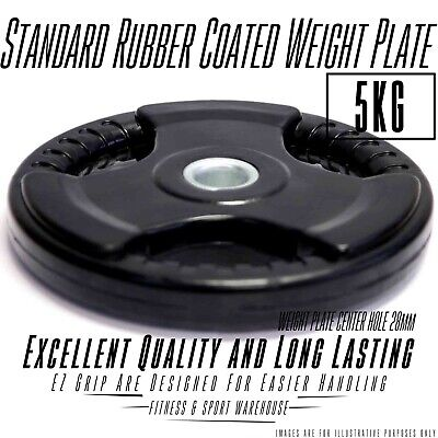 NEW Pair of 5KG Rubber Coated Weight Plate Fitness Weightlifting Equipment Gear