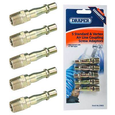 """5 Draper/PCL 1/4"""" BSPT Air Line Coupling Connector Adaptor Male Airflow Coupler"""