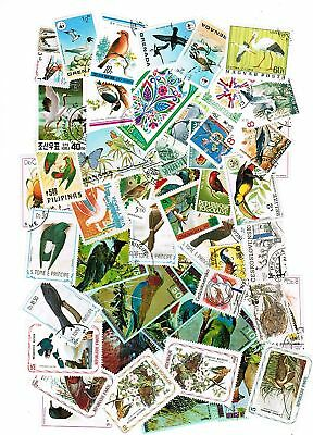 Lot De 50 Timbres Differents Themes Oiseaux