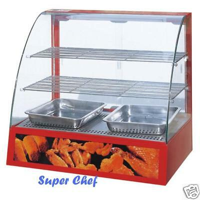 Heated Curve Glass Food  Display Warmer Cabinet Case