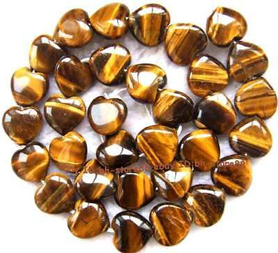 12mm Natural yellow Tiger's Eye flat heart-shaped Beads 1