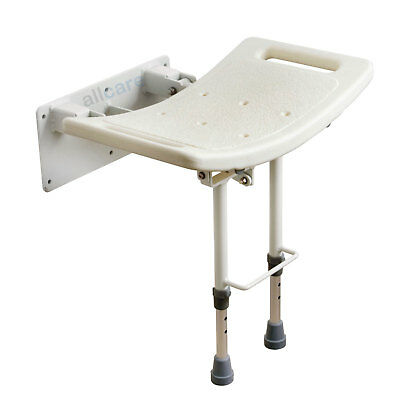 Wall mounted Folding Shower Seat  Chair with Fold up, Drop down Adjustable Legs