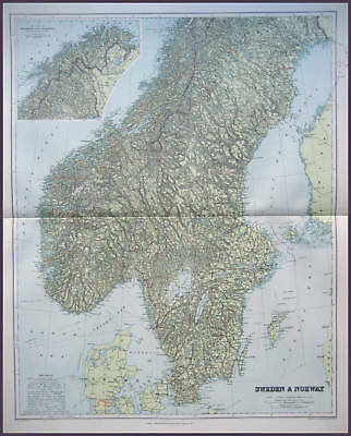 Sweden & Norway Large Full Colour Map Stanford 1904