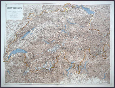 Switzerland Large Antique Full Colour Map Stanford 1904