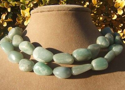 Jade Double Strand Chunky Seafoam Green Big Necklace Natural Earth Jewelry Aimee