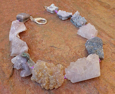 Rough Amethyst Necklace Purple Lavender Big Gem Chunky Frosty Icy Freeform Druzy
