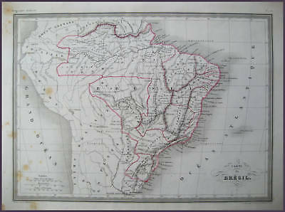 Brazil Genuine Antique Malte Brun Map 1846
