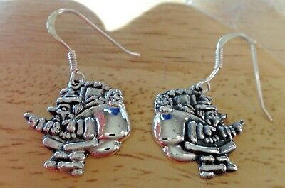 Sterling Silver 22x20mm 5 gram Santa Carrying bag of Toys 15mm wire Earrings