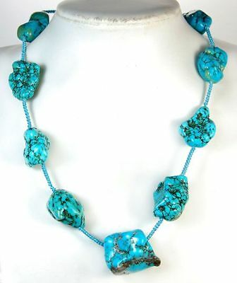 16x21-27x30mm Blue Turquoise Necklace 19""