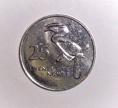 Zambia 25 ngwee Crowned Hornbill bird animal coin