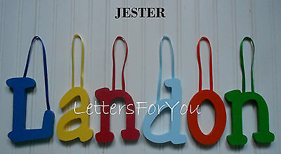 "Wooden Wall Letters 6"" size Painted Wood Children Nursery Playroom Names Jester"