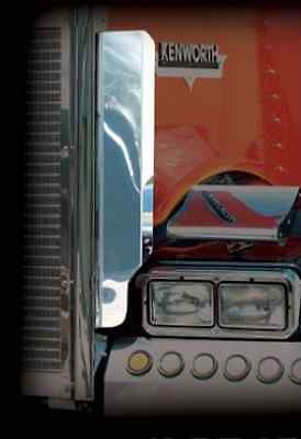 Kenworth W900L Side Grill Deflectors Stainless Steel