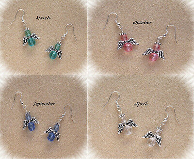 Birthstone Colors Angel Bead & Jewelry Making Earring Kit Silver w/ Instructions