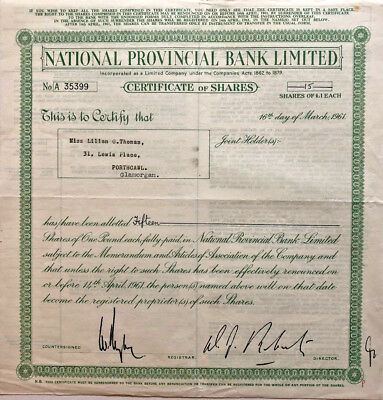 National Provincial Bank   England stock certificate