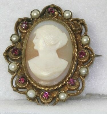 Vtg 1940's Carved Shell Cameo Rhinestone Pearl Pin