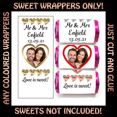 S101 Personalised Mini Love Heart Sweet Wrappers Stickers Only Wedding Favours