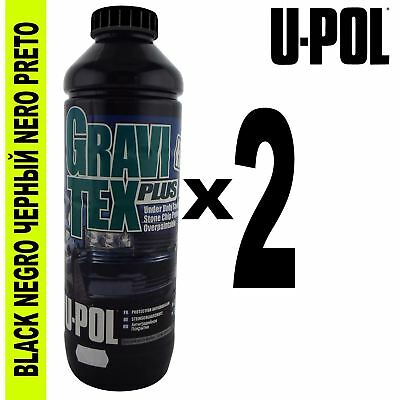 UPol GRAVITEX Stone Chip Overpaintable Protection Black 1 Litre x 2 Protector