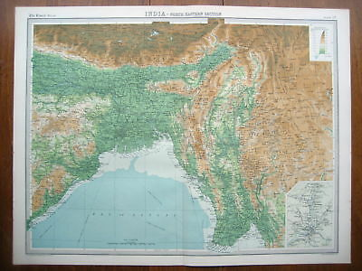India North East Bartholomew Colour Map 1922