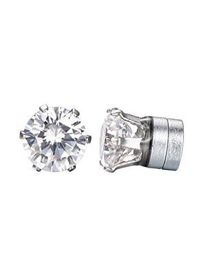 Mens Clear CZ 8mm Round Czech Crystal Stone Hip Hop Bling Magnetic Earrings
