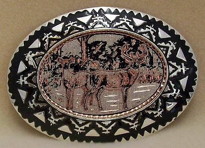 Hand Made Western Copper Belt Buckle with Buck and Doe Black Enamel Oval