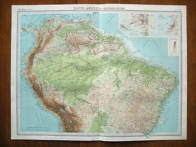 South America Northern Original Colour Map From 1922