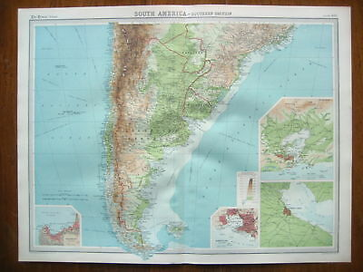 South America Southern Original Colour Map From 1922