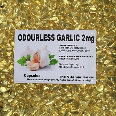 Garlic 2mg Odourless 1000 Capsules FREE POSTAGE (L)