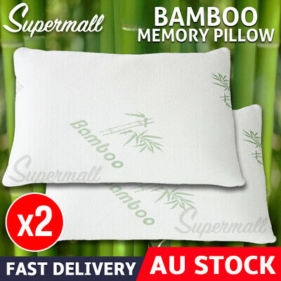 2x Contour Bamboo Pillow Memory Foam Fabric Fibre Cover Vertebra Care 70 x 40 cm