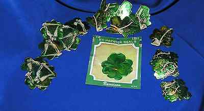 23 VTG DENNISON EMBOSSED FOIL ST PATRICKS DIE CUTS, GREAT4 CRAFTS, OR TO COLLECT