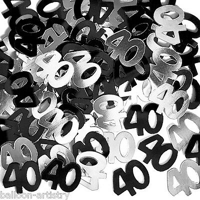 2 Packs 40th Birthday Confetti Sprinkles BLACK & SILVER
