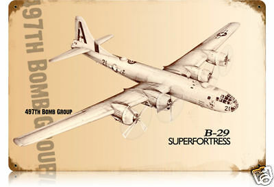 B-29 SUPERFORTRESS  497th BOMB GROUP  METAL SIGN