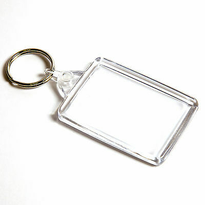 1 BLANK CLEAR LARGE CROSS STITCH KEYRING 50mm x 35mm