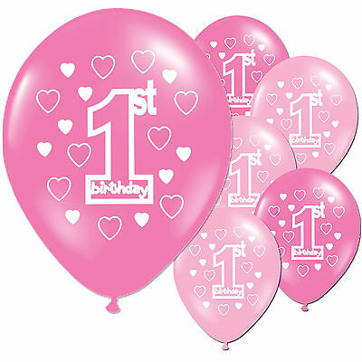 """10 Pink Girl's 1st Birthday Party 11"""" Pearlised Latex Printed Balloons"""