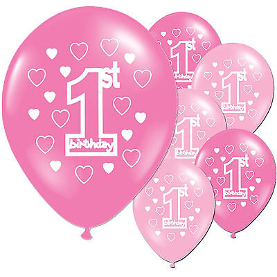 10 Pink Girl's 1st Birthday Printed Pearlised Balloons