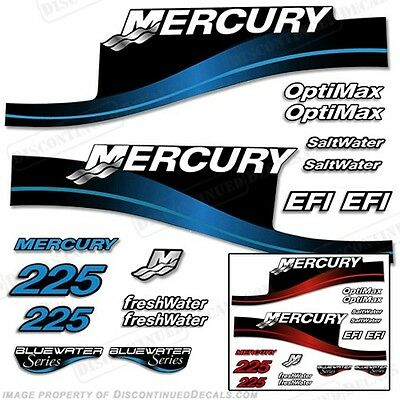 Mercury 225hp Outboard Decal Kit Blue or Red 225 All Models Available