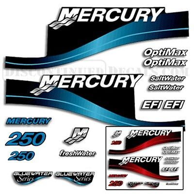 Mercury 250hp Outboard Decal Kit Blue or Red Available