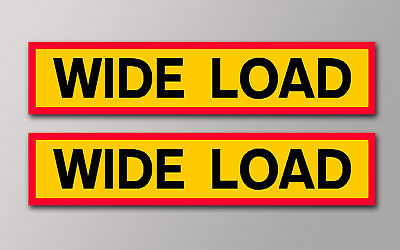 2 PANNIER WIDE LOAD FUN STICKERS 130X26mm