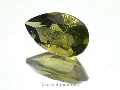 MOLDAVITE FACETED GEM 8x5mm DROP STANDART CUT 0.6ct BRUS179