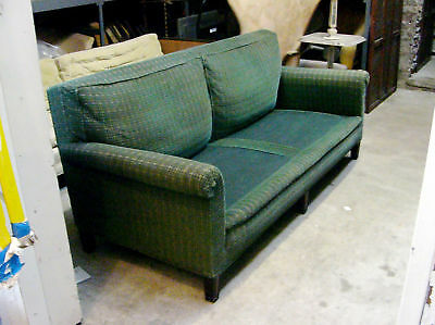 "Classc Rolled Arm Early 20th Century 72"" Green Sofa"