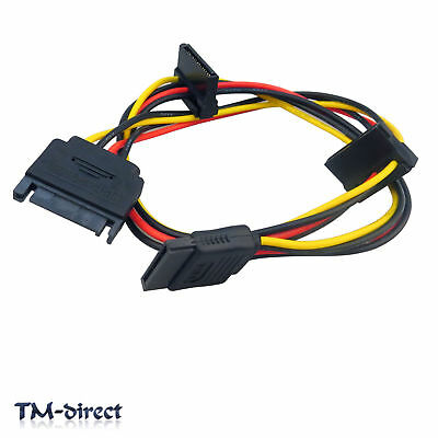 SATA 15 Pin Male to 3 way Female Power Splitter Cable