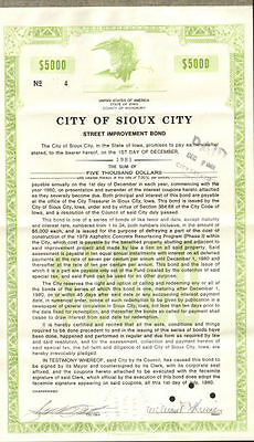 Sioux City /> Woodbury Iowa Fire bond stock certificate