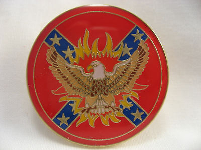 Southern Bright blazing Eagle Rebel flag Lapel pin Red Gold trim New!!!