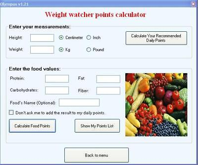 Weight Watchers Calculator Points Plus Software & Fat %